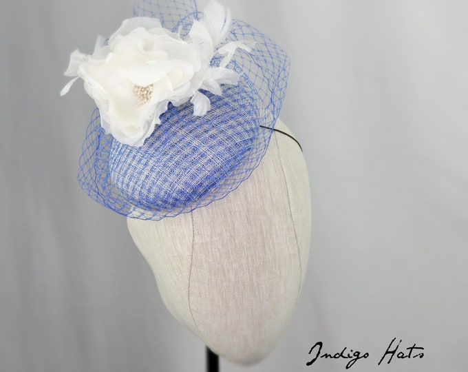 Blue Pillbox Hat. Handmade Cornflower blue Conservancy Luncheon Hat or Mother of the Bride veiled Hat, Cocktail, Tea Party or Church Hat