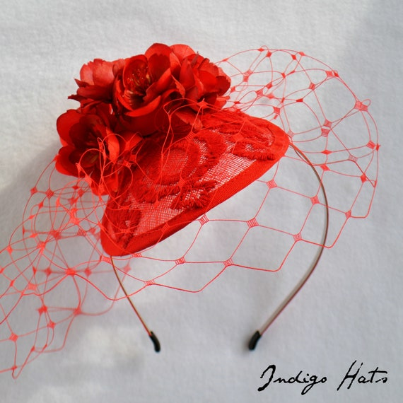 BARCELONA FASCINATOR | RED Kentucky Derby Hat | Saratoga Del Mar British Royal Ascot | English Wedding Party Fascinator | Red Hat Society