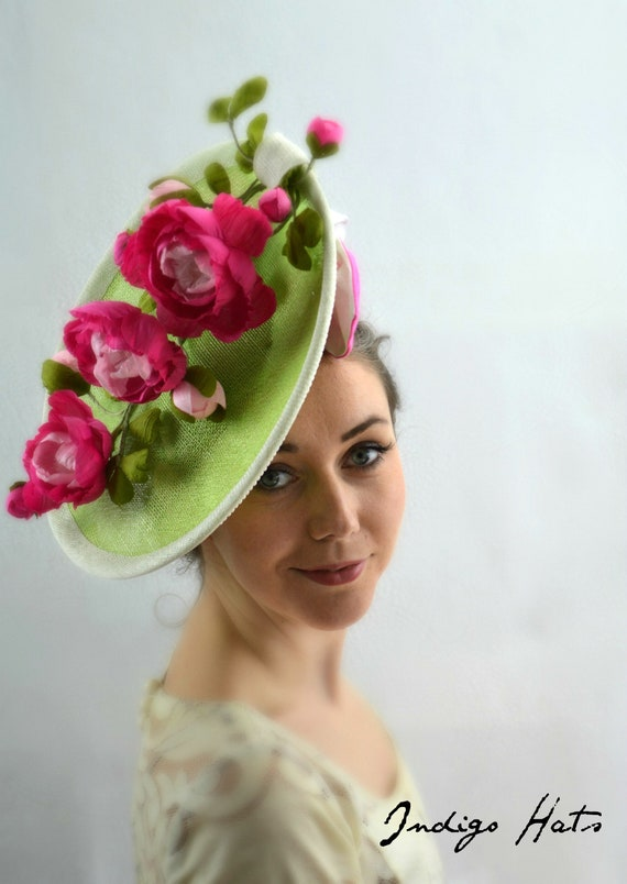 CHATHAM Pink & Green Kentucky Derby Hat.  Mother of the Bride Hat, Royal Ascot Hat, Conservancy Famous Hat Luncheon or Tea Party Fascinator