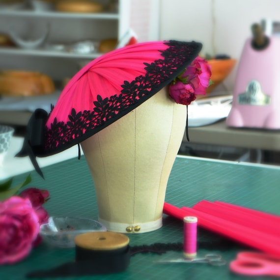 Fuchsia and Black Kentucky Derby Hat with roses, Hot Pink Royal Ascot Fascinator, Elegant Saucer Style Mother of the Bride Hat