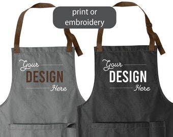 Personalized Apron with Print or Embroidery Port Authority Market Full-Length Bib Apron Monogrammed Apron Custom Printed Apron Logo or Text