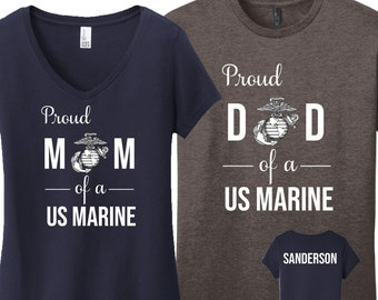 dd8668d1b Proud Mom of a US Marine Shirt Proud Dad of a US Marine Personalized Marine  Mom Shirt Personalized Marine Dad Shirt Marine Parent Shirt
