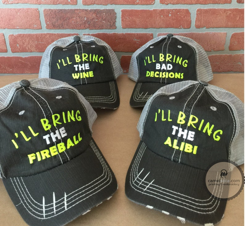 Embroidered party group hats Distressed Trucker Hat Party  293647f9d921
