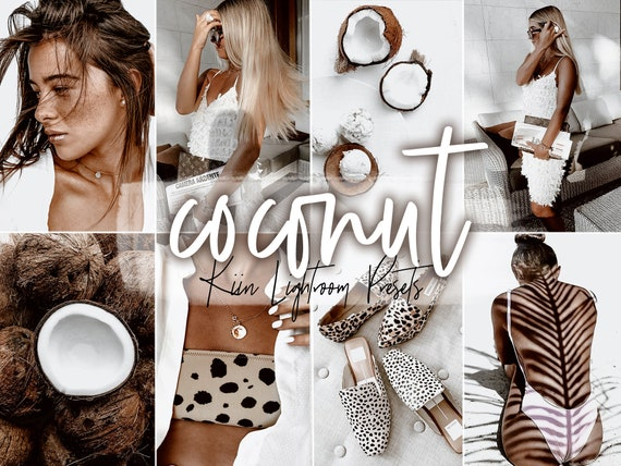 4 COCONUT LIGHTROOM mobile /& desktop presets  minimal tropical holiday bright feed blogger filter