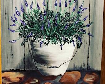 "Acrylic painting 11x14 panel ""porch lavender """
