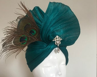 Harnessing Peacocks - Hat Couture Wedding/Races/Mother of the Bride Designer Hat