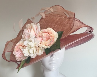 Diamonds Pearls and a Pink Tiara  - Hat Couture Wedding/Races/Mother of Bride Designer Hat