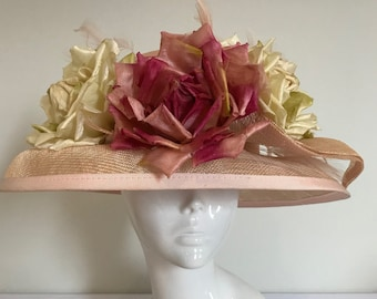 Peaches, Cream and a Grand Piano  - Hat Couture Wedding/Races/Mother of Bride Designer Hat