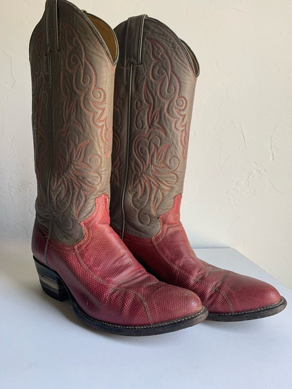 Women's Red Snakeskin Cowboy Boots (Size 7)