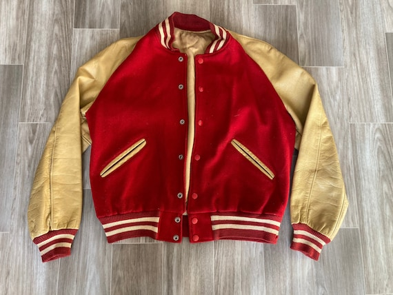 Vintage 40s/50s Letterman Jacket Leather and Wool