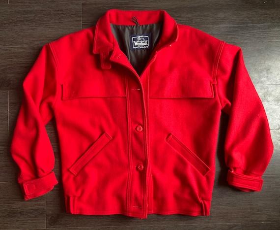 Vintage 1960s Red Woolrich Overcoat / Wool Jacket