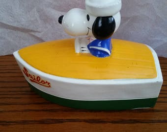 Vintage Sailor Snoopy in boat bank. Made in Korea. With Label