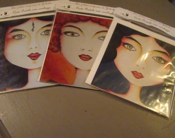 Set of three postcards with envelopes