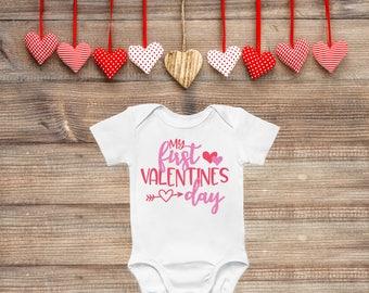 Girls Valentines Day Onesie 1st Valentines Outfit Girls