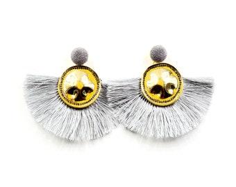 Fan reto gold taseel earring