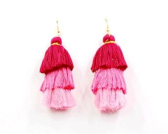 Tassel level coloful earring
