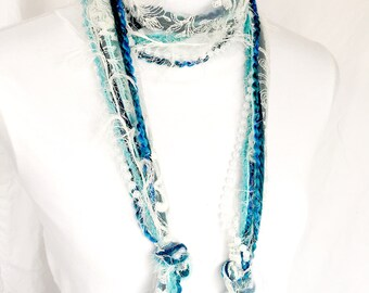 NEW Teal Scarf Necklace | Fabric Necklace | Textile Necklace | Teal Scarves for Women | Long Skinny Scarves | Beautiful Scarves for Women