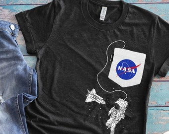 d651f5942dc5 NASA Patch, Fake Pocket Shirt, Astronaut In Outer Space, Galaxy Shirt,  Rocket Tshirt, Science Geek, Solar System Gift, Womens Vintage Tee