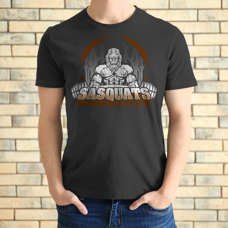 e8c1892c6 Workout Shirt Bigfoot Sasquatch Weightlifting Tee Funny | Etsy