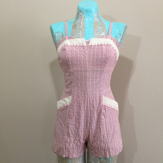Early 50's Rose Marie Reid Pink Gingham Swimsuit - image 1