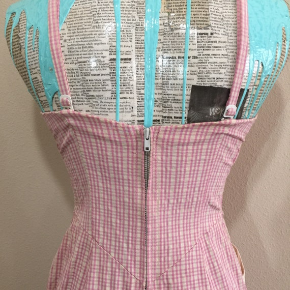 Early 50's Rose Marie Reid Pink Gingham Swimsuit - image 6