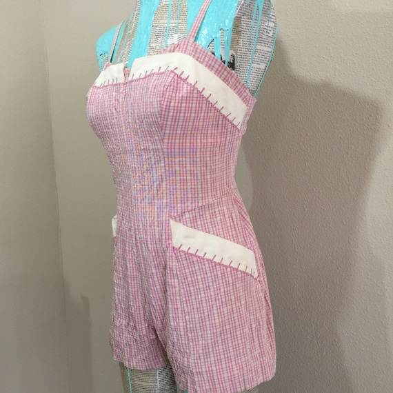 Early 50's Rose Marie Reid Pink Gingham Swimsuit - image 3
