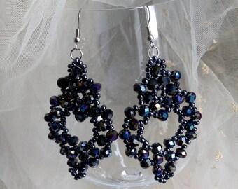 Black Beaded Earrings, Long Beaded Earrings, Seed Bead Earrings, Beaded Jewelry, Boho Earrings, Dangle Earrings, Chandelier Earrings