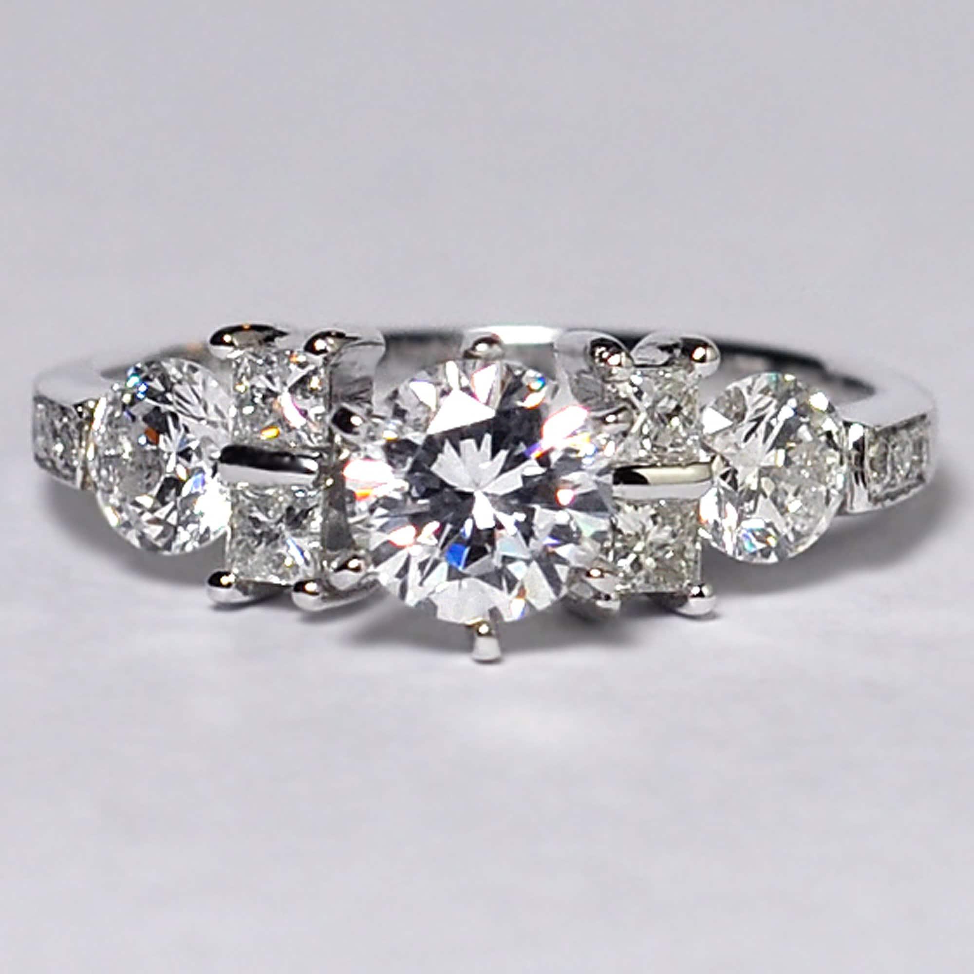 Bague de fiançailles en diamant en cristal Swarovski Solide 14K Or blanc,  Custom Unique vintage Promise Bridal Ring for Women