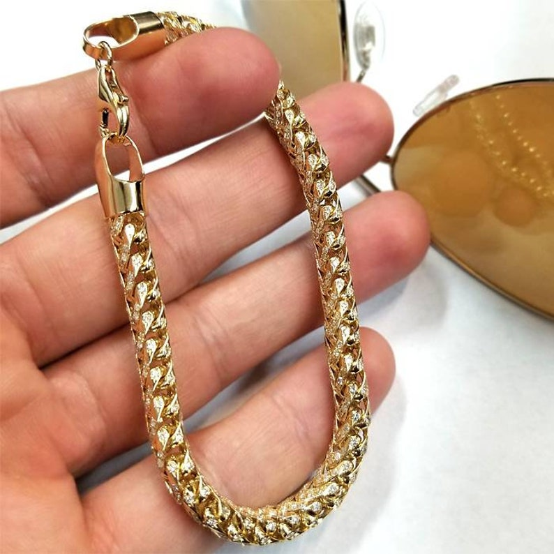 ad8ec77571f Mens Iced Out Diamond Bracelet Solid 14K Yellow Gold Custom   Etsy