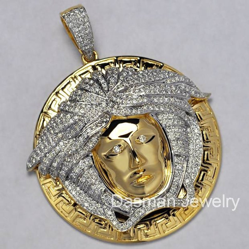 863b81cb2e2 Mens Diamond Medusa Head Greek Key Pendant Necklace Solid 14K