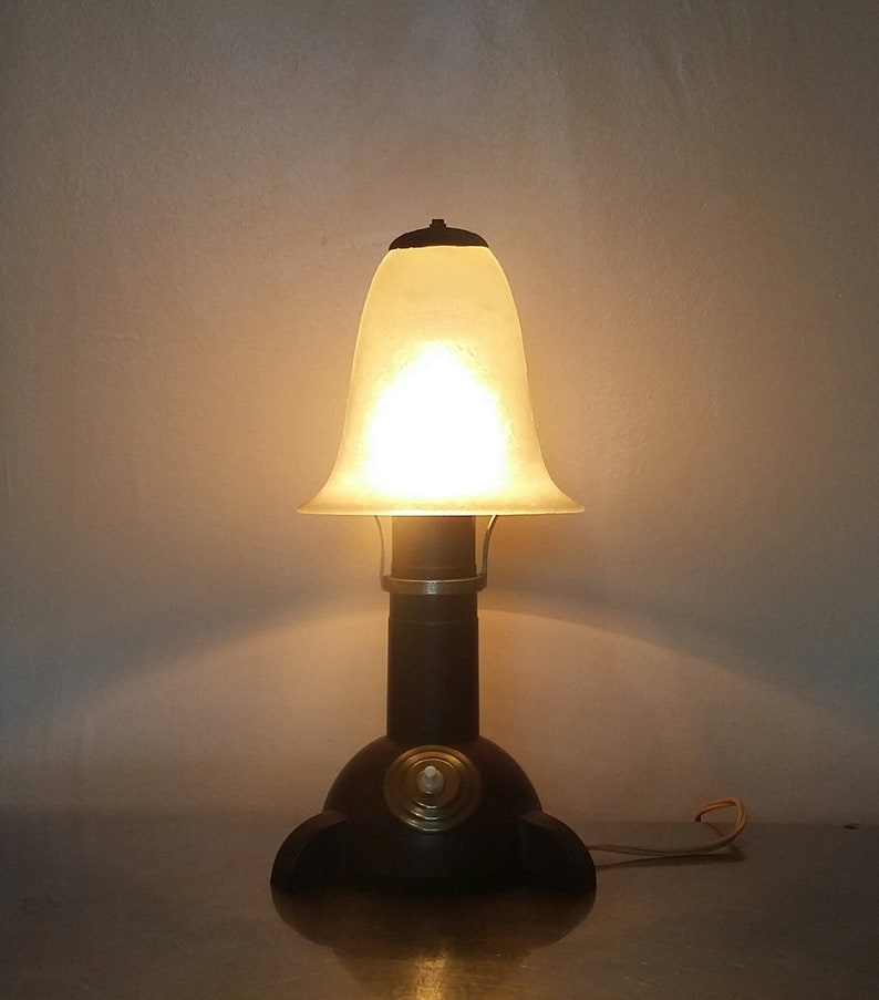 Vintage Streamline Deco Design Lamp A Brown Bakelite By And SchneiderIn France Made With Of Base Glass 1930's Art Shade 0wOPX8nk