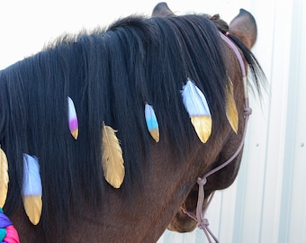 Mane Feathers for Horses and Ponies | Feather Clip Equestrian Accessories | Gold, Silver, Rose Gold, Pastel Rainbow, Peacock Feathers