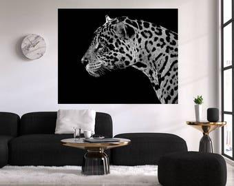 20b9206686d Jaguar wall art - Jaguar print - Jaguar digital download - Black and White Jaguar  print - Animal print art