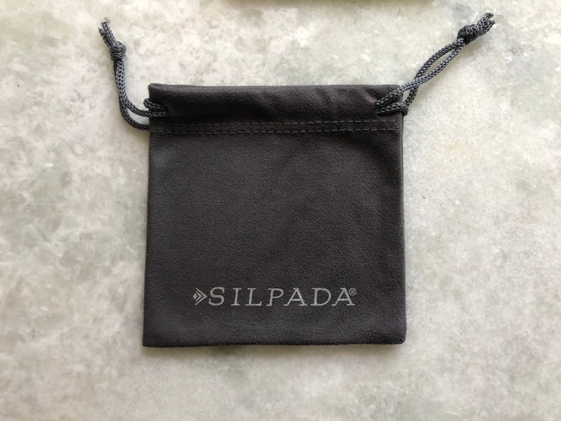 Silpada P1287 Sterling Silver 2\u201d Hammered Hoop Earrings With Silpada Box /& Pouch
