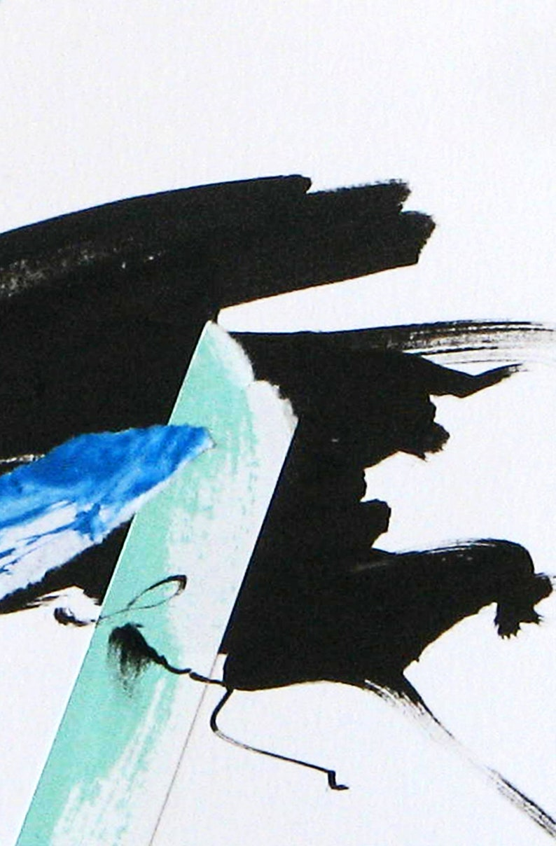 artsy home decor abstract collage Modern black white and blue abstract black and blue original mixed media small abstract mixed media
