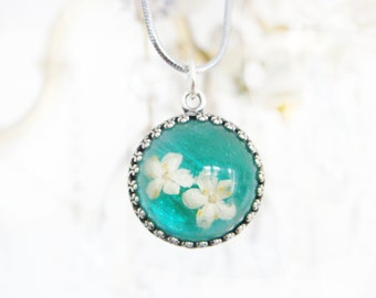 925 Silver Real flower Resin pendant necklace