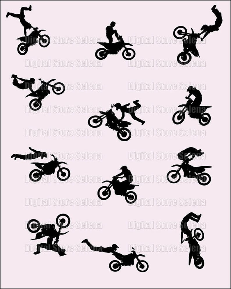 Motofreestyle  Clipart  Silhouette  Image  Digital Art  Sport  12 files   PNG  Instant Download
