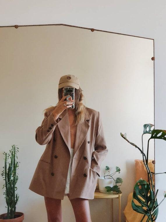 tan vintage 80s blazer