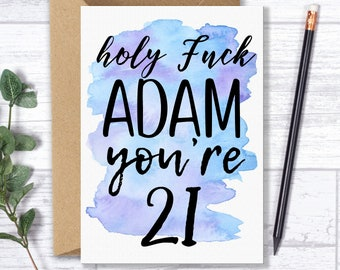 Personalised 21st Birthday Card For Him