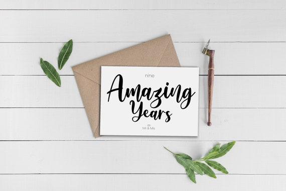 9th Anniversary CardNinth Anniversary Card9 Year Anniversary Card