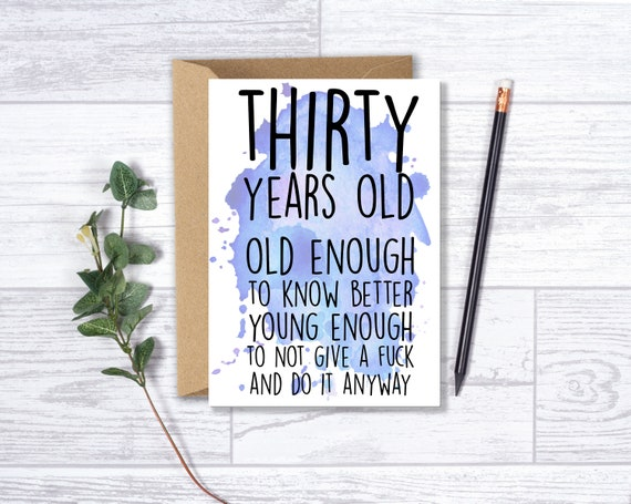 Funny 30th Birthday Card For Him Brother Husband Son