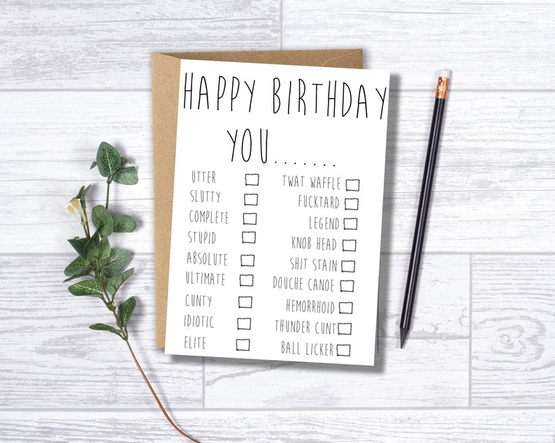 Funny Birthday Card Tick The Boxes To Create Your Own Insult