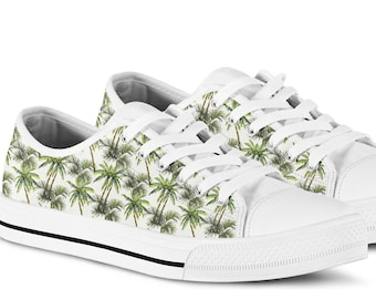 1034a97c80e68 Tropical palm tree hawaiian print canvas sneakers