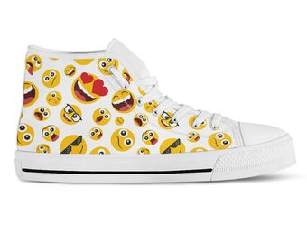 2c595f6a615e9d Emoji Sneakers Custom High Top Sneakers Emoji Shoes Smiley Face Emoticons  Novelty Sneakers Streetwear Skate Shoes Canvas Printed Hi Tops