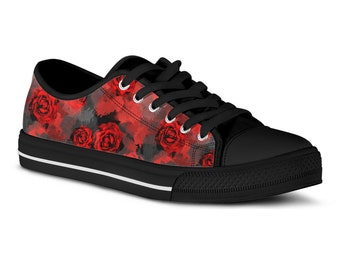 cd5b6757fd62 Red Rose Custom Sneakers Floral Tennis Shoes Custom Shoes Gothic Rose  Canvas Shoes Printed Sneakers Tennis Shoes Vegan Shoes Gift for Women