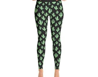 b481e9873e High Waisted Leggings Cactus Print Yoga Pants Tights Exercise Pilates  Leggings Gift for Her Funky Leggings Girlfriend Gift Idea for Women