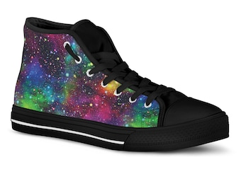 Galaxy Shoes Hi Tops Custom Sneakers Outer Space Sneakers Galaxy Nebula  Printed Canvas Shoes Vegan Shoes Gym Shoes Birthday Gift 380f22c26