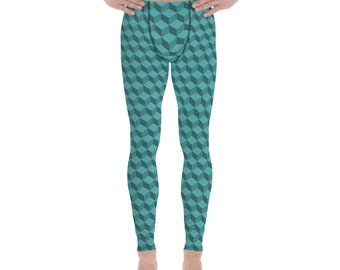 f7f840685ecab3 Green geometric men's leggings