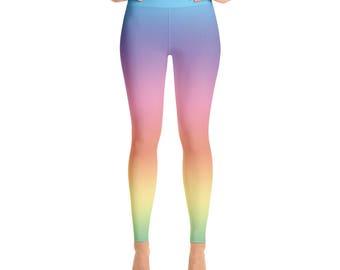 a21f89d7295c3 Pastel rainbow leggings, rainbow ombre yoga pants