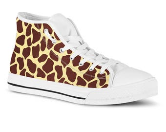 e18c7707d1 Giraffe animal print high top sneakers